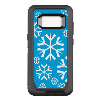 White Snowflakes on a Blue Background OtterBox Defender Samsung Galaxy S8 Case