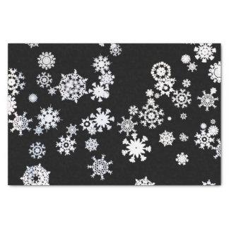 White Snowflakes on Black Tissue Paper