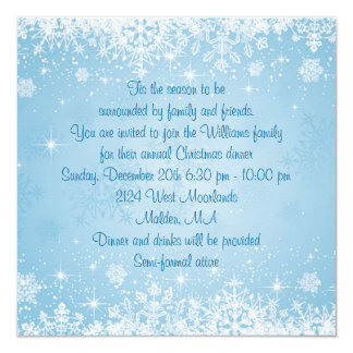 White snowflakes on blue Christmas Holiday Party 13 Cm X 13 Cm Square Invitation Card