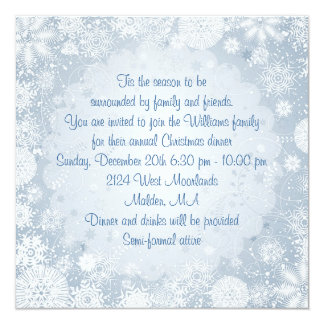 White snowflakes on blue Christmas Holiday Party Card
