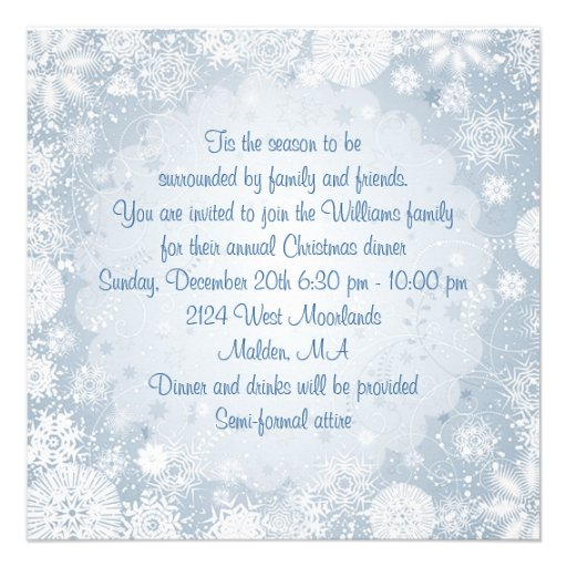 White snowflakes on blue Christmas Holiday Party Invites