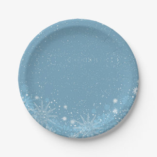 White Snowflakes on Blue Paper Plate