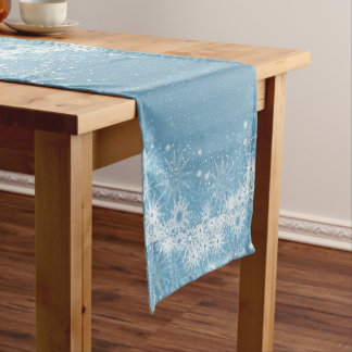 White Snowflakes on Blue Table Runner