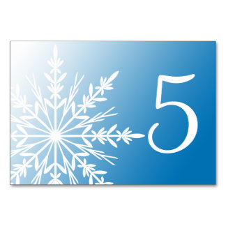 White Snowflakes on Blue Winter Table Numbers