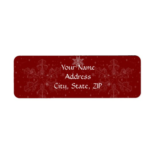 White Snowflakes on Cranberry Background Return Address Label