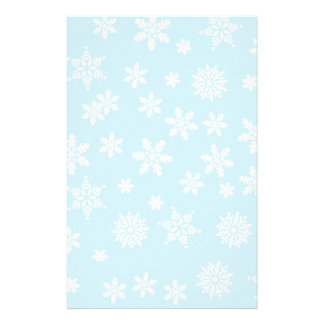 White Snowflakes on Light Blue  Background Stationery