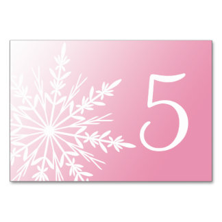 White Snowflakes on Pink Winter Table Numbers Table Card