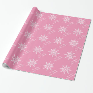 White Snowflakes on Pink Wrapping Paper