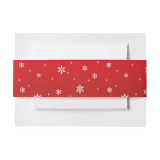 White Snowflakes on red Background Belly Band Invitation Belly Band