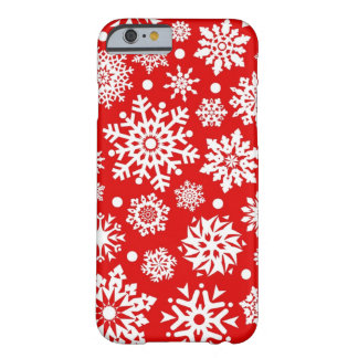 White snowflakes on red barely there iPhone 6 case