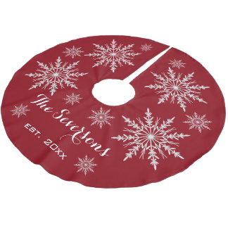 White Snowflakes on Red Brushed Polyester Tree Skirt