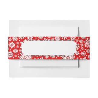 White snowflakes on red invitation belly band
