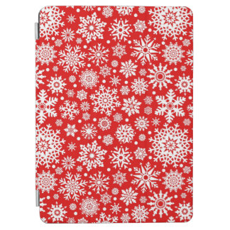 White snowflakes on red iPad air cover