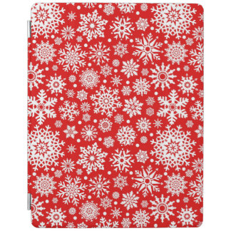 White snowflakes on red iPad cover