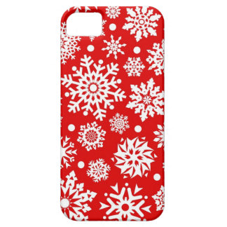 White snowflakes on red iPhone 5 cover