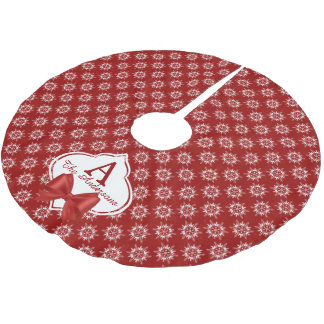 White Snowflakes on Red with Ribbon Monogram Brushed Polyester Tree Skirt