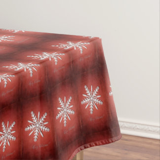 White snowflakes on white, Xmas tablecloth