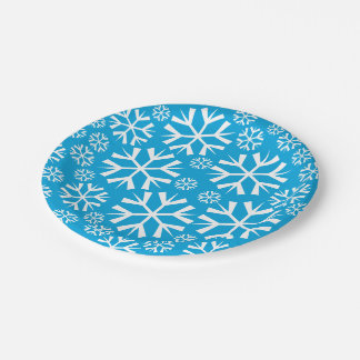 White Snowflakes Pattern on a Blue Background Paper Plate