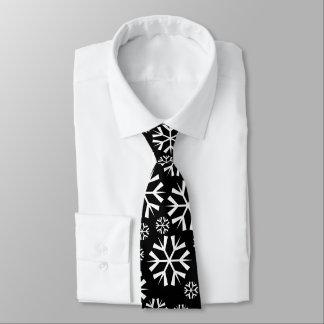 White Snowflakes Pattern on Black Background Tie