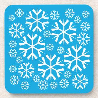 White Snowflakes Pattern on Blue Background v2 Coaster