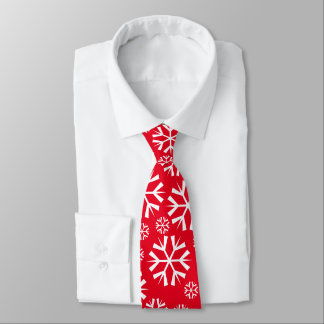 White Snowflakes Pattern on Red Background Tie