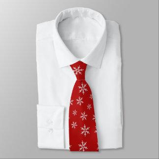 White Snowflakes Pattern on Red Tie