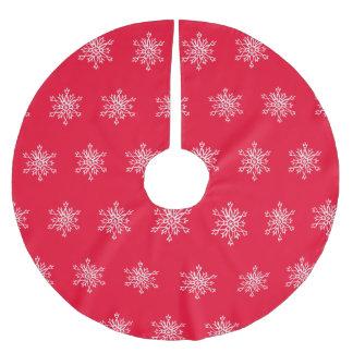White Snowflakes Red Background Custom Tree Skirt