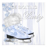 White Snowflakes Skates Ice Skating Party Invitations