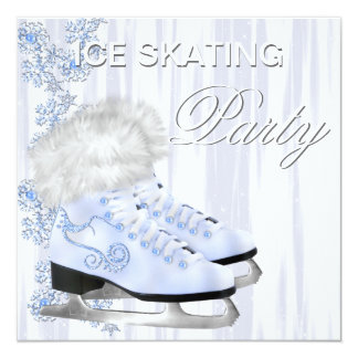 "White Snowflakes Skates Ice Skating Party 5.25"" Square Invitation Card"