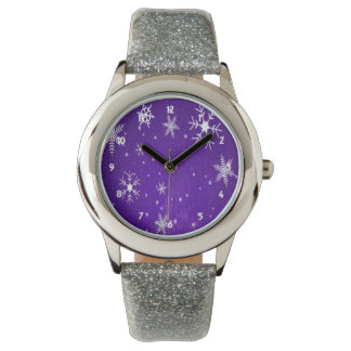 White Snowflakes with Blue Background Watch