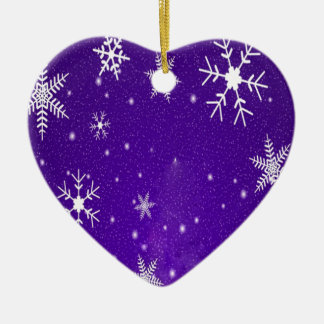 White Snowflakes with Blue-Purple Background Christmas Ornament