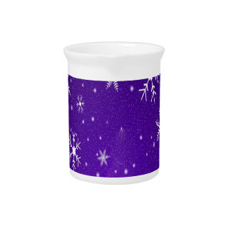 White Snowflakes with Blue-Purple Background Pitcher