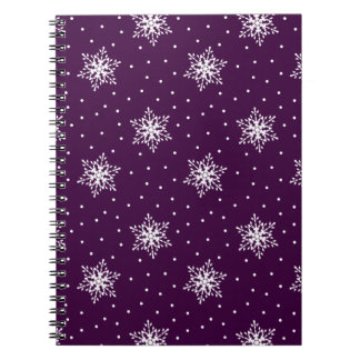 White Snowflakes with Polka Dots Patterned Spiral Notebook