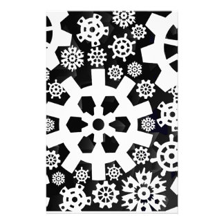 White Snowy Gears Stationery