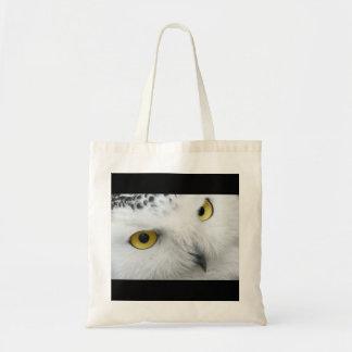 White Snowy Owl Face Photo Nature Wildlife Canvas Bag