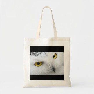 White Snowy Owl Face Photo Nature Wildlife Canvas Bag