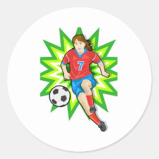 White Soccer Girl Round Stickers