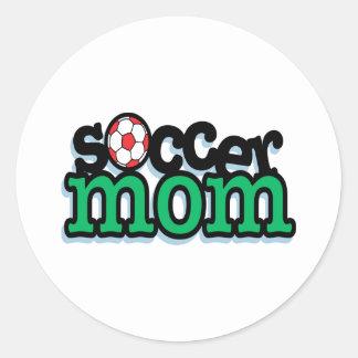 White Soccer Mom Round Sticker