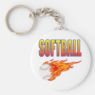 White Softball Flame Ball Basic Round Button Key Ring