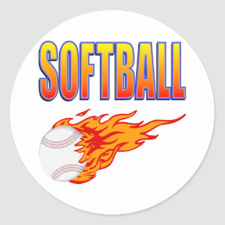 White Softball Flame Ball Classic Round Sticker
