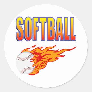 White Softball Flame Ball Round Sticker