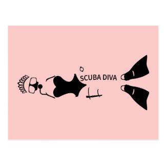 White Space Scuba Diva Post Cards