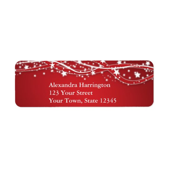 White Sparkling Stars on Red Holiday Return Address Label