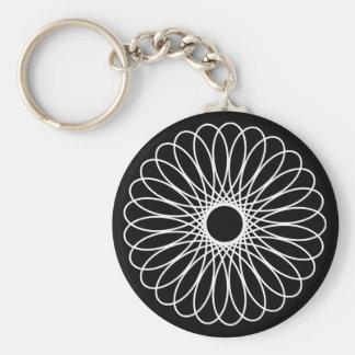 White Spirograph Key Chains
