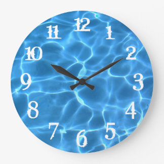 White Splash Numbers Blue Swimming Pool Wall Clocks
