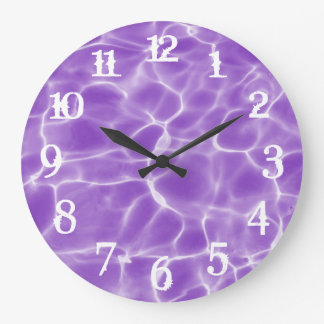 White Splash Numbers Purple Swimming Pool Large Clock