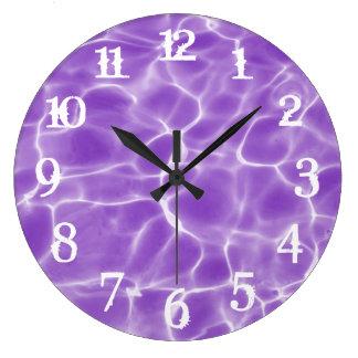 White Splash Numbers Purple Swimming Pool Wall Clock