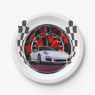 White sports car and speedometer paper plate