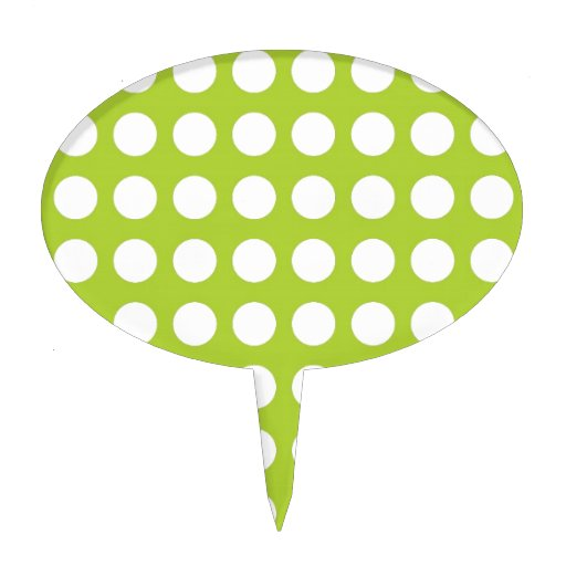 White Spots and Dots on Lime Green Cake Pick