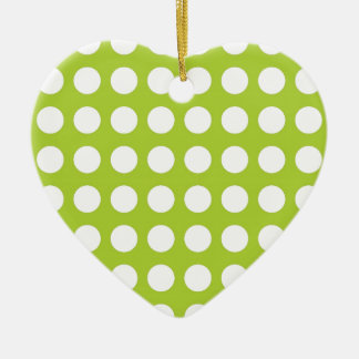White Spots and Dots on Lime Green Christmas Ornament